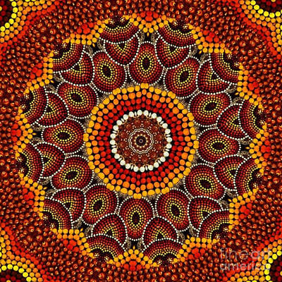 Concentration Digital Art - Aborigine Orange And Red And Gold by Dawn Boyer