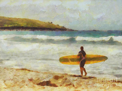 Beach Royalty-Free and Rights-Managed Images - About to surf by Pixel Chimp