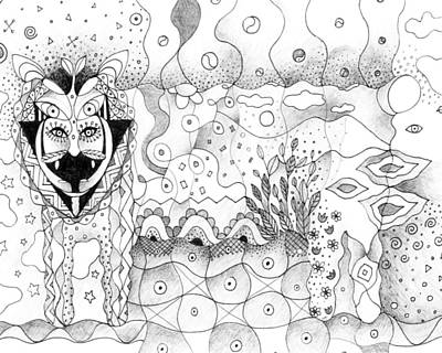 Drawing - About Wolves And Sheep by Helena Tiainen
