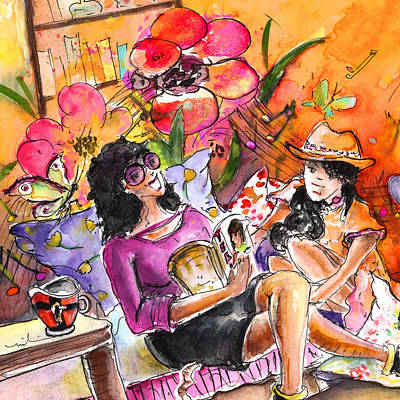 Fun Flowers Drawing - About Women And Girls 09 Bis by Miki De Goodaboom