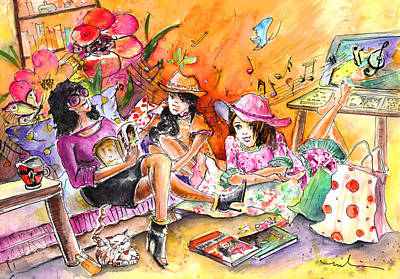 Fun Flowers Drawing - About Women And Girls 09 by Miki De Goodaboom