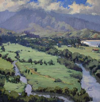Na Pali Hawaii Painting - Above Hanalei Town by Pierre Bouret