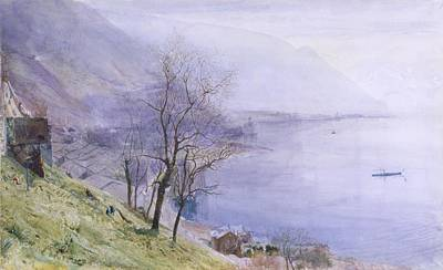 Coastal Landscape Drawing - Above Montreux by John William Inchbold