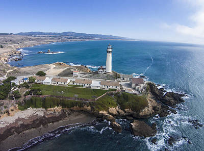 Aerial Photograph - Above Pigeon Point Lighthouse by David Levy
