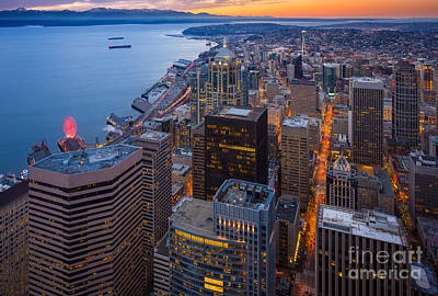 Architecture Photograph - Above Seattle by Inge Johnsson