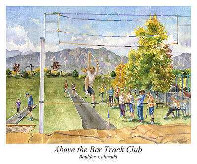 Teenager Painting - Above The Bar Track Club Poster by Anne Gifford