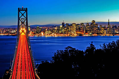 Above The Bay Bridge And San Francisco Skyline Art Print