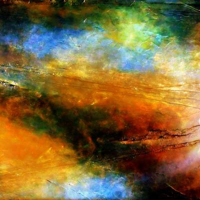 Above The Clouds Space Inspired Fine Art Nebula Cosmic Universe Painting Art Print by Holly Anderson