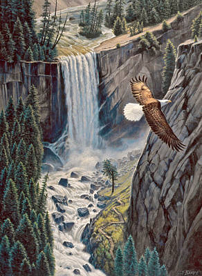 Bald Eagle Painting - Above The Falls - Vernal Falls by Paul Krapf