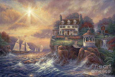 New England Lighthouse Painting - Above The Fray by Chuck Pinson