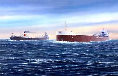 Freighter Painting - Above The Huron Cut by Captain Bud Robinson