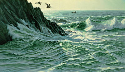 Pelican Wall Art - Painting - Above The Surf by Paul Krapf