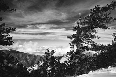 Photograph - Above The Winter Clouds In Mountain Snow Original Black And White Fine Art Photography  by Jerry Cowart