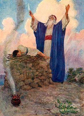 Christianity Drawing - Abraham And Isaac On Mount Moriah by William Henry Margetson