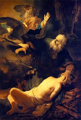 Hermitage Painting - Abraham And Isaac by Rembrandt van Rjinn