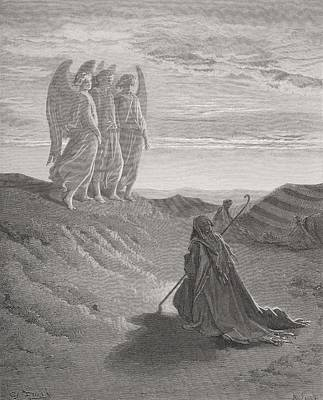 Engraving Drawing - Abraham And The Three Angels by Gustave Dore