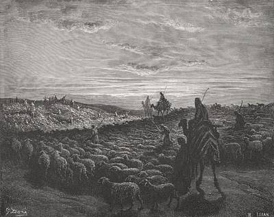Sheep Drawing - Abraham Journeying Into The Land Of Canaan by Gustave Dore