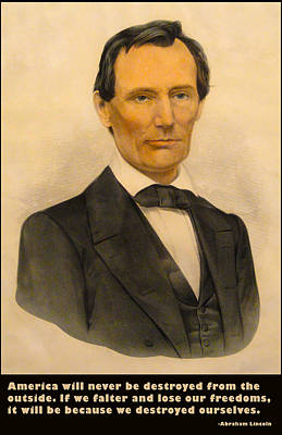 Politicians Digital Art - Abraham Lincoln 1860 by Currier and Ives