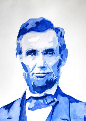 Abraham Lincoln A Study In Blue Art Print