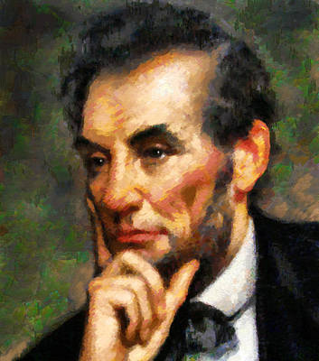Politicians Royalty-Free and Rights-Managed Images - Abraham Lincoln - Abstract Realism by Georgiana Romanovna