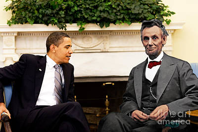 Abraham Lincoln And Barack Obama Art Print by Jorge Fernandez