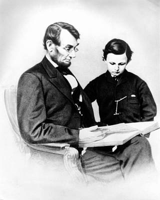 Republican Photograph - Abraham Lincoln And Tad by Anonymous