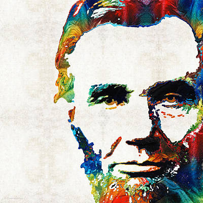 Freedom Painting - Abraham Lincoln Art - Colorful Abe - By Sharon Cummings by Sharon Cummings
