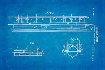 Abraham Lincoln Buoyancy Patent Art 1849 Blueprint Art Print by Ian Monk