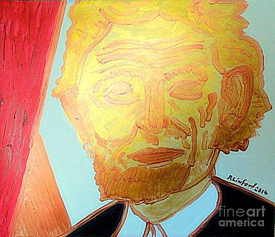 Painting - Abraham Lincoln Gold 1 by Richard W Linford