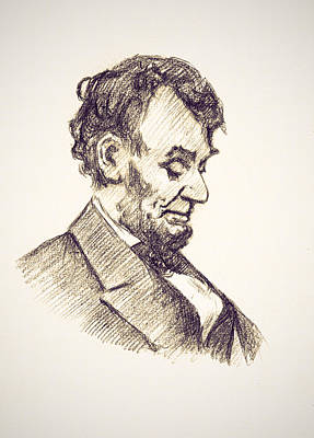 Lincoln Drawings Digital Art - Abraham Lincoln Head Bowed  Drawing 1910 by Bill Cannon