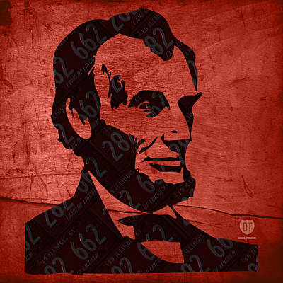 Abraham Lincoln License Plate Art Art Print by Design Turnpike