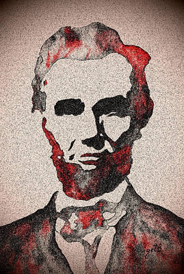 Politicians Royalty-Free and Rights-Managed Images - Abraham Lincoln Original Digital painting by Georgeta Blanaru