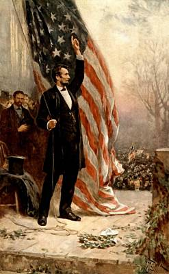 President Lincoln Digital Art - Abraham Lincoln Raising The Flag by Ferris