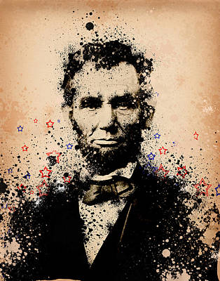 Civil Painting - Abraham Lincoln Splats Color by Bekim Art