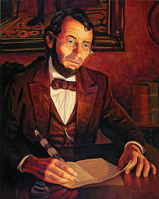 Gettysburg Address Painting - Abraham Lincoln by Steve Simon