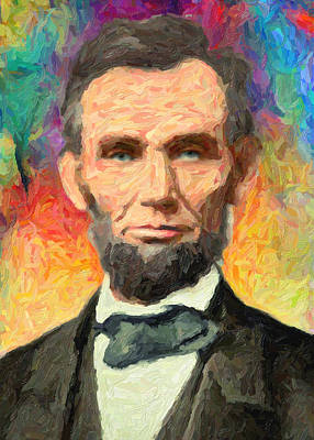 Impasto Oil Painting - Abraham Lincoln  by Taylan Apukovska