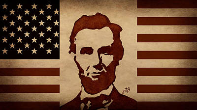 Abraham Lincoln Usa Flag Print by Georgeta  Blanaru