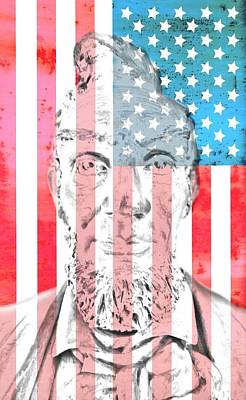 Lincoln Portrait Digital Art - Abraham Lincoln Vintage American Flag by Dan Sproul