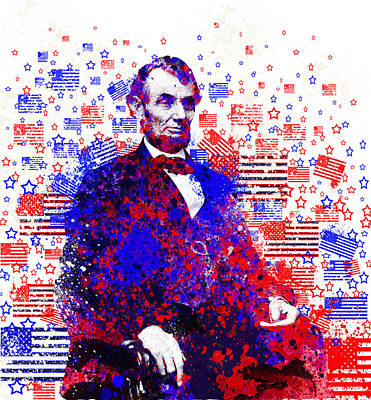 Civil Painting - Abraham Lincoln With Flags 2 by Bekim Art
