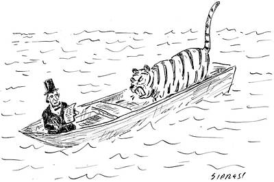Wildlife Drawing - Abraham Lincoln With Tiger In Boat by David Sipress
