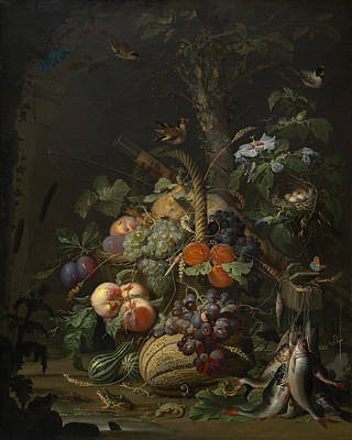 Still Life With Fish Painting - Abraham Mignon Still Life With Fruit Fish And A Nest C 1675 by MotionAge Designs