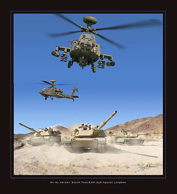 Abrams Battle Tank And Apache Longbow Art Print by Larry McManus