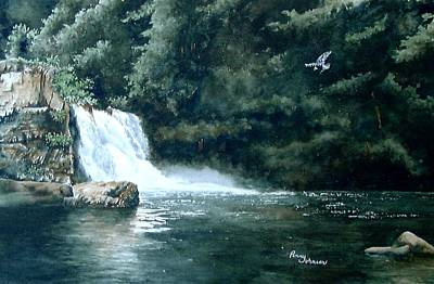Cades Cove Painting - Abrams Falls by Penny Johnson