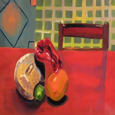 Cantaloupe Painting - Absence At The Dinner Table by Latti Ice