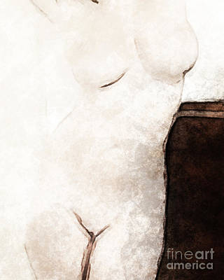 Nude Woman Torso Painting - Absent Friend by Lutz Baar