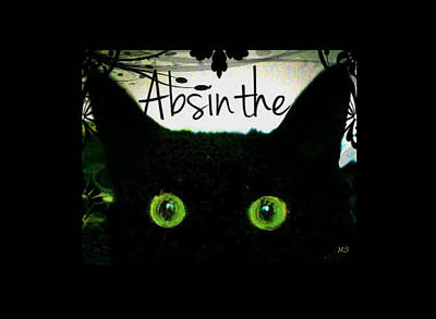 Digital Art - Absinthe Black Cat by Absinthe Art By Michelle LeAnn Scott
