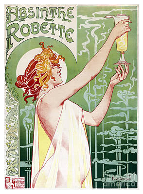 Absinthe Painting - Absinthe Robette By Alphonse Mucha by Pablo Romero