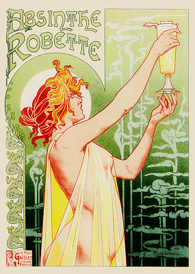 Vintage Antiques Sign Drawing - Absinthe Robette by Mountain Dreams