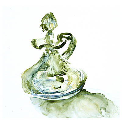 Absinthe Vinegar Cruet Depression Watercolor Art Print