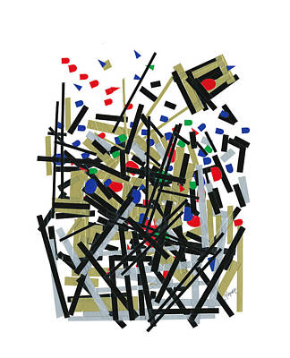 Abstact In Tape And Letterforms One Art Print by Agustin Goba